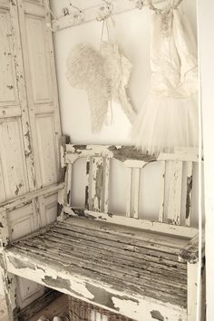 heavenly shabby chic distressed white furniture peeling paint.  Repinned by www.silver-and-grey.com