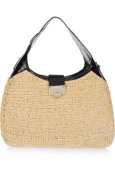 Jimmy Choo|Rajah raffia and croc-effect leather hobo bag|NET-A-PORTER.COM - StyleSays