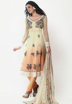Embellished Peach and Cream Dress Material