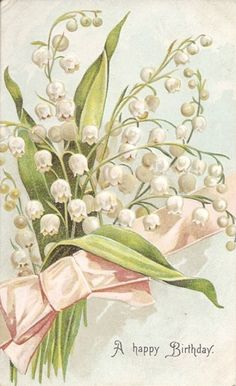♔ Lily of The Valley Vintage Birthday Postcard Birthday Postcards, Vintage Birthday Cards, Vintage Greeting Cards, Vintage Ephemera, Happy Birthday Cards, Birthday Greetings, Christmas Greetings, Images Vintage, Vintage Pictures