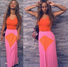 Beyonce Fashion 2014   Get The Look: Beyonce's Instagram Line & Dot Orange And Pink ...