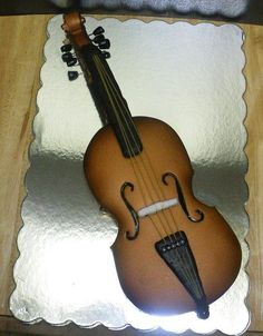 "Violin musical instrument Cake By ""Sweets by Monica"" on Facebook"