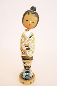 Vintage Antique Huge Wooden Japanese Kokeshi Doll Signed Asian Antiques Other Asian Antiques