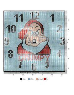 Grumpy clock Plastic Canvas Ornaments, Plastic Canvas Crafts, Plastic Canvas Patterns, Tissue Box Covers, Tissue Boxes, Disney Clock, Disney Crafts, Cross Stitching, Needlepoint