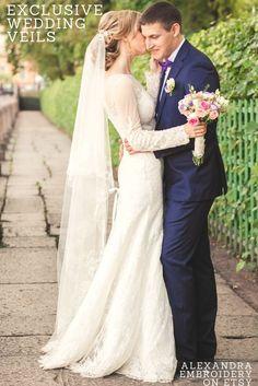 Exclusive wedding veils. Long bridal veil with floral edge. Two layer wedding veil. Ivory bridal veil with blusher. White veil champagne veil. Floor length wedding veil. Alexandra Embroidery wedding veils #weddingveil #bridalveil #longveil #floorveil #ivoryveil #weddinghair #bridetobe #etsywedding #etsy #cathedralveil #twolayerveil #alexandraembroidery