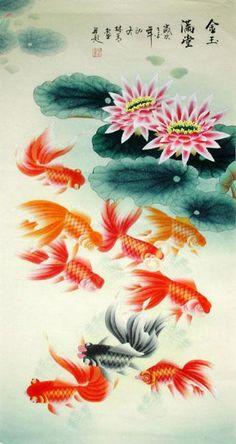 Goldfish Painting   Goldfish,55cm x 100cm(22〃 x 39〃),2622001-z