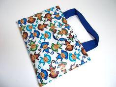 Blue Urban Zoology Monkeys laminated art caddy