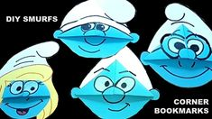 DIY Smurfs - Brainy, Hefty, Clumsy & Smurfette corner bookmarks