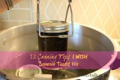 Canning is so much fun but I wish someone had told me these 12 canning tips before I started my journey. I would have saved time,money, & massive clean-ups. Canning Tips, Home Canning, Canning Recipes, Canning Food Preservation, Preserving Food, Water Bath Canning, Canned Food Storage, Fruit Preserves, Pressure Canning