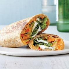 Roasted Red Pepper Hummus Veggie Wraps | CookingLight.com #myplate #veggies #wholegrain #dairy