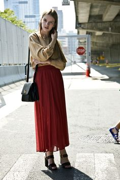 red maxi skirt + nude top