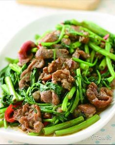stir fried lamb with water spinach | Taiwanese cuisine recipe in Chinese