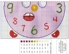 Reloj despertador animado (2).Color key DMC, Anchor y Madeira