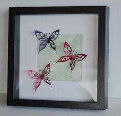 Encaustic wax painted filigree winged butterflies by Moo Doodle https://www.facebook.com/moodoodle15