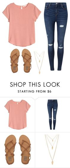 """school cute casual"" by haileyhoksbergen on Polyvore featuring H&M, Miss Selfridge, Billabong and Forever 21"