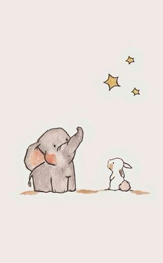 A wallpaper of elephant and a rabbit