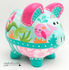 Mermaid Ocean Personalized Piggy bank in Hot Pink and Turquoise Personalized Piggy Bank, Personalized Gifts, The Little Couple, Piggy Banks, One Stroke Painting, Baby Coming, Porcelain Ceramics, Custom Items, Clay Art