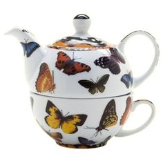 Butterflies Tea for One  10oz Cup ~ 16oz Pot - Roses And Teacups