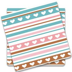 Cool new product Hearts On Multico...   Check out http://www.colorpur.com/products/hearts-on-multicolor-horizontal-stripes-coaster-set-of-2-artist-astha?utm_campaign=social_autopilot&utm_source=pin&utm_medium=pin