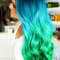 Ombre hair blue green colorful hair hair dye hair ideas hair styls hair ceuts