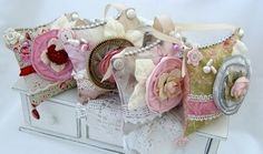 romantic pincushions (more like art) by Melissa Phillips via her lilybeanpaperie blog