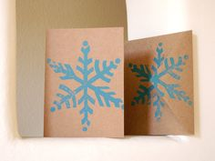 Winter Holiday Cards Snowflake Linocut Block Print - Blue  (Set of 5). $10.00, via Etsy.