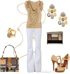 """""""Nude with Grey"""" by button519 ❤ liked on Polyvore"""