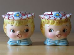 Vintage Lefton Dainty Miss Salt and Pepper S Shakers - Stock Number 439 - Made in Japan. $29.99, via Etsy.