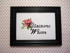 "Iago ""Villainous Whore"" Framed Cross Stitch. $40.00, via Etsy."