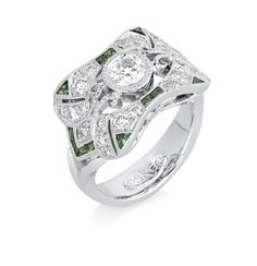 www.eskaejeweller.com.au  18ct white gold Art Deco inspired engagement ring set with Diamonds and tsavorite garnets. P.O.A