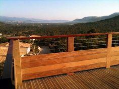 Vivanbois terrasse en pin classe 4 sur poteaux escalier exterieure et garde corps en lisses - Terras camouflagenetten ...
