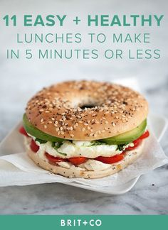 Bookmark these quick, easy + healthy lunch recipes to make for the work week or during your weekend at home. (healthy sandwiches for lunch) Healthy Snacks, Healthy Eating, Healthy Breakfasts, Healthy Bagel, Healthy Lunches For Work, Healthy Quick Recipes, Quick Easy Healthy Dinner, Delicious Recipes, Quick Easy Healthy Meals