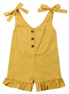 Trendy solid romper for toddler girls. Check it out Trendy solid romper for toddler girls 3 different colors available Comfy, classy, and stylish Picture her in this perfect outfit Baby Girl Frocks, Frocks For Girls, Kids Frocks, Little Girl Dresses, Girls Dresses Sewing, Dress Girl, Baby Outfits, Toddler Girl Outfits, Kids Outfits