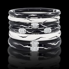 Black and white enamel bangle with diamonds