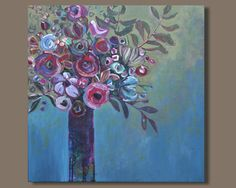 FREE SHIP abstract painting, abstract impressionism, flowers in vase, abstract floral impressionist painting, purple blue, still life by SageMountainStudio on Etsy