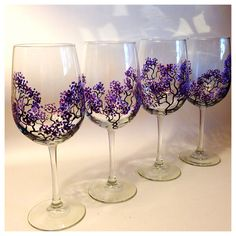 Set of 8 18.5 oz Wine Glasses  Purple by MelissaWynneDesigns