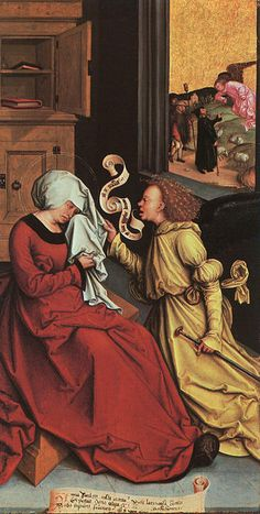 Die Durchsage an Anne und Joachim, 1510 von Bernhard Strigel (1461-1528, Germany)