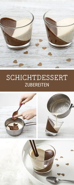 Desserts schön anrichten: Vanille-Nuss-Creme im Glas kochen / yummy recipe for dessert: vanilla and chocolate pudding via Chocolate Pudding, Chocolate Desserts, Chocolate Torte, Alcohol Chocolate, Chocolate Muffins, Delicious Desserts, Dessert Recipes, Yummy Food, Sweets Cake