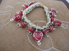 Caged Hearts Knit Beaded Bracelet by MyDarlingJewelry on Etsy