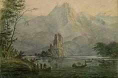 The Athenaeum - Burgsee with remote castle (Carl Blechen - ) A4 Poster, Poster Prints, Carl Blechen, Vintage Artwork, Royal Mail, Remote, Fine Art, Ferdinand, Painting