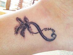 My Newest Tattoo... Infinity + Palm Tree + Ohana... Honeymoon Tattoo... Maui Tattoo Company