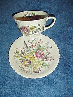 Vintage Johnson Bros Garden Bouquet Cups and Saucers