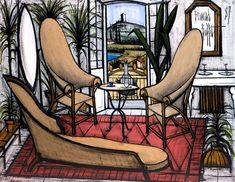Bernard Buffet - La Baume : le boudoir - oil on canvas - 114 x 146 cm Sculpture Art, Sculptures, Illustrator, Gypsy Living, Boudoir, Museum, Butterfly Chair, French Artists, Art Plastique