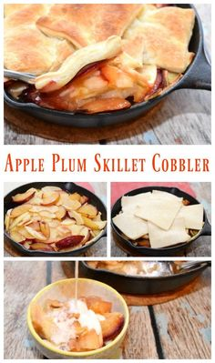 Make this scrumptiously easy apple plum skillet cobbler in your iron skillet! Topped with puff pastry and finished with a drizzle of cream.  Your family will love this! #SoFabSeasons