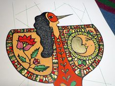 La mujer pajaro, new year, new characters coming along. Print, acrylic and sewing on paper.