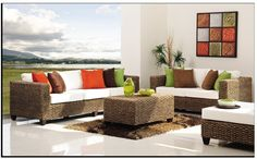 sala con muebles de ratan