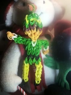 By Tracy Dowdell Weber. Rainbow Loom FB page. BUDDY the ELF. [Also works great as Robin Hood.]