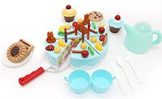 DIY Fruit Cake ideal for preschoolers a whole cake party set with Velcro fastened large cake decoration pieces removable candles cupcakes cookie biscuits a kettle and 2 cups with serving plates -- You can get more details by clicking on the image.Note:It is affiliate link to Amazon.