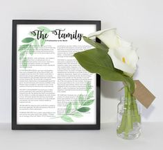 The Family Proclamation LDS Printable pdf file instant download LDS Gallery Wall Art Print 8x10 or 16x20