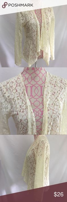 Beautiful Lace Cardigan Size Medium Francescas white lace open cardigan. Absolutely beautiful. New condition  Size medium  60% cotton/40% Rayon Francesca's Collections Sweaters Cardigans
